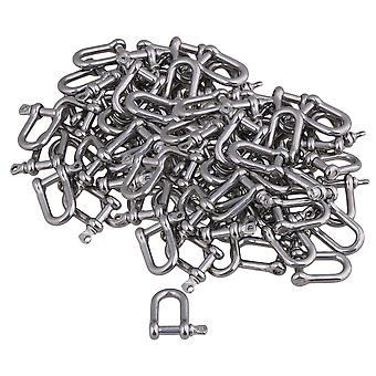 50 Pieces 26x22mm Silver 304 Stainless Steel M4 D Shackle Rigging Tool