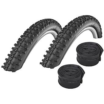 "Velo.Set 2 x Schwalbe Smart Sam Bicycle Tires = 54-559 (26×2.1"") + Hoses"