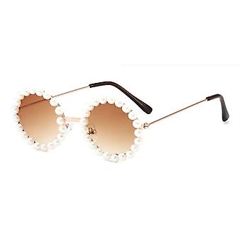 Kids Metal Round Pearl Sunglasses Gafas De Sol Uv400