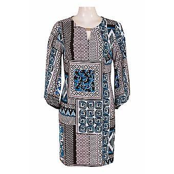 Sleeve Keyhole Neckline Multi Print Jersey Dress.