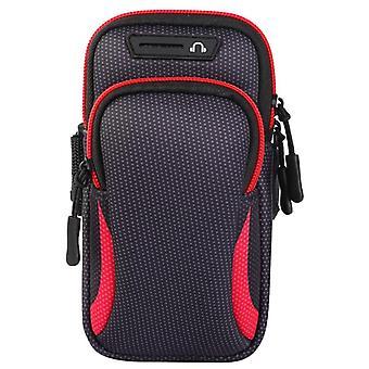 مزدوجة جيب الرياضة تشغيل ذراع باند حقيبة حقيبة الهاتف محفظة حامل