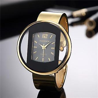 جديد الفاخرة العلامة التجارية سوار مشاهدة الذهب الفضة الاتصال سيدة اللباس كوارتز ساعة
