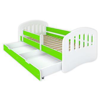 Kinderbed 160x80 wit / groen met lattenbodem en matras