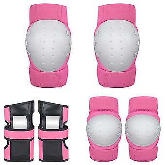 Knee Pads Elbow Pads Bracer Protective Gear Set for Multi Sports Pink L Size