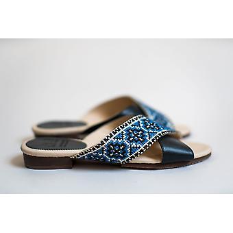 Tatreez Cross Sandaal - Saffierblauw
