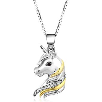 YFN 925 Sterling Silver Horseshoe Girl and Ponny Heart Pendant Horse Necklace
