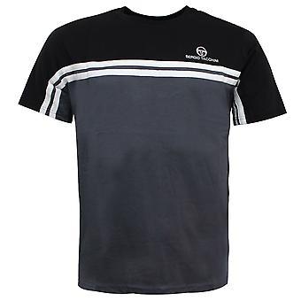 Sergio Tacchini Mens Carey T-Shirt Colour Block Top Black 38143 181