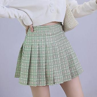 Women Plaid Pleated High Waist A-line Mini Skirts
