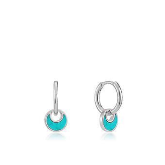 Ania Haie Rhodium Tidal Turquoise Crescent Huggie Hoop Earrings E027-06H