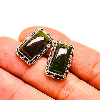 "Bloodstone Earrings 3/4"" (925 Sterling Silver)  - Handmade Boho Vintage Jewelry EARR411135"