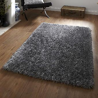 Monte Carlo Hand Made Shaggy Rugs In Silver