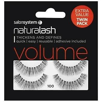 Salon System Naturalash Lashes Twin Pack - 100 Black Volume - Adhesive Included
