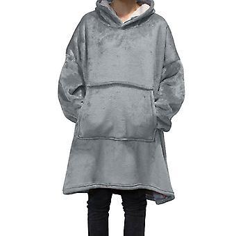 Vinter varm sofffilt med ärmar Fleece Pocket Hooded