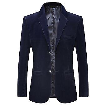 Mäns två spänne Casual Solid Color Suit Jacka