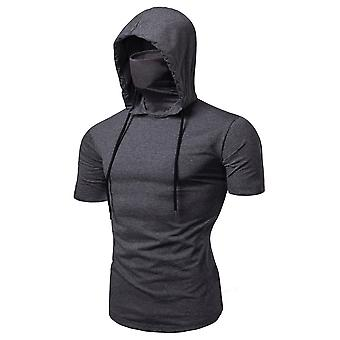 Allthemen Men's Casual Hooded T-Shirts - Fashion Short Sleeve Solid Color Pullover Top Summer Blouse