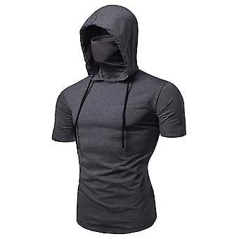 Allthemen Men's Casual Huppari T-paidat - Muoti Lyhythihainen Kiinteä Väri Pullover Top Kesä pusero