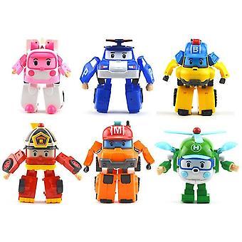 6kpl Korea Robocar Poli Muutos Robotti Auto Malli Anime Toimintahahmo