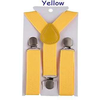 High Quality Elastic Leather Suspenders Baby Three Clips Braces Vintage