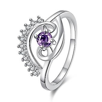 Purple Swarovski Elements Pav'e Evil Eye Silver Plating Ring