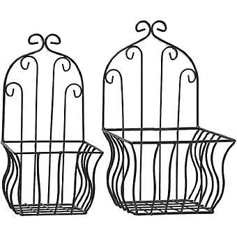 Home Collection Wandkorb 2er Set aus Eisen schwarz H32-35cm Pflanzkorb