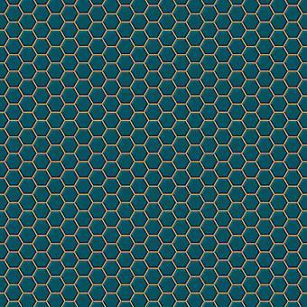 Hexagon Lattice Teal Wallpaper