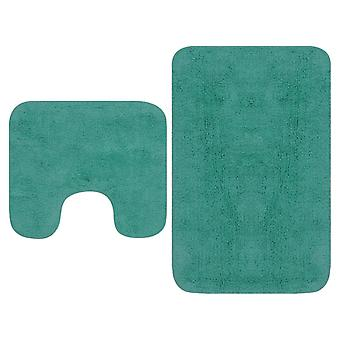 vidaXL bath mats set 2-pcs. Fabric turquoise