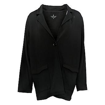 Cuddl Duds Women's Reg Comfort Blazer w/ Patch Pockets Black A391574