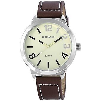 Excellanc 295071400120 - Men's wristwatch, brown leather strap