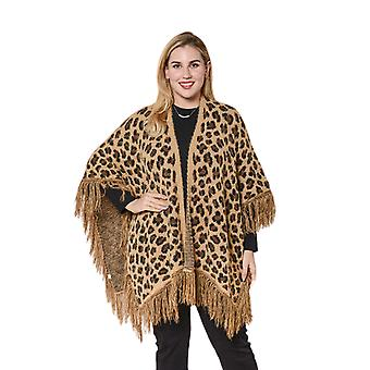 LA MAREY Leopard Print Kimono mit voller Quaste in braun
