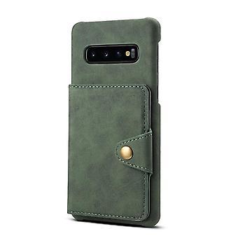 Lederen portemonnee kaart slot case voor samsung s10plus donkergroene pc4954