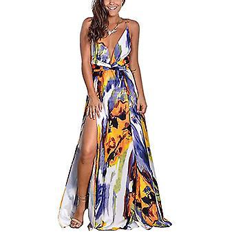 Summer Women's Deep V-Neck Casual Maxi Dresses