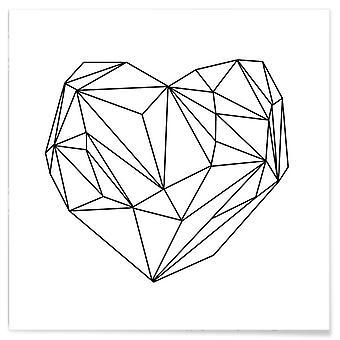 JUNIQE Print - Heart Graphic - Love & Romance Poster in Black & White