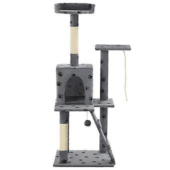 vidaXL Katzen-Kratzbaum Sisal 120 cm Grau Pfoten-Aufdruck