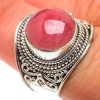 Rhodochrosite Ring Size 7.25 (925 Sterling Silver)  - Handmade Boho Vintage Jewelry RING66551