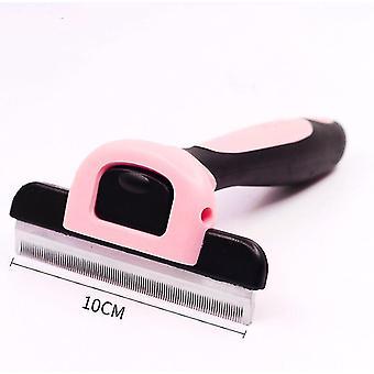 كبيرة 10cm فرشاة مزيل الشعر الوردي والاستمالة التشذيب مع مقص للانفصال لحيوانات أليفة القط az12276