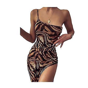 נשים סקסי פאייטים תחרה שמלת ערב V-צוואר שמלות רשמיות עם פיצול גבוה(S)