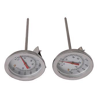 2x zilveren frituurthermometer met clip instant leesknopthermometer