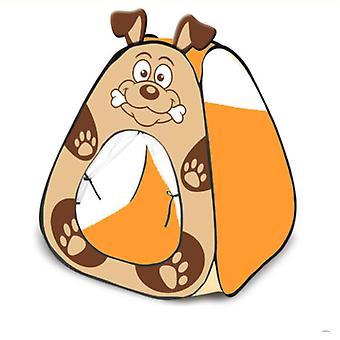 Děti hrající pop up stan děti stanový dům cartoon dog styl vnitřní děti stanový dům hnědý