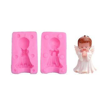 1Pcs 3d sleeping mermaid little angel silicone moolds for home homemade soap bag candle cake decoration