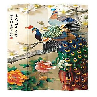 Fine Asianliving Chinese Oriental Room Divider Folding Privacy Screen 4 Panel Peacocks colorés L160xH180cm
