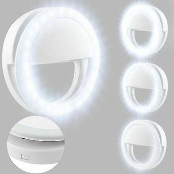 (Wit) Universele Selfie LED licht ring flash fill clip camera voor telefoons laptops tablet