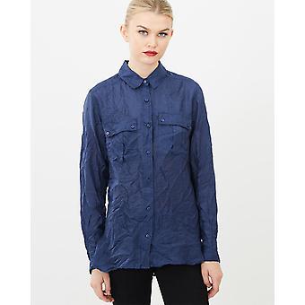 Long Sleeve Silk Crinkled Shirt