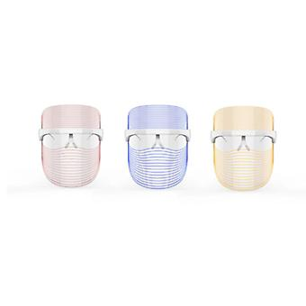 LED face mask beauty device transparent for deep skin lines, rejuvenation treatment, acne, dark spots with the help of red, blue and orange light(White)