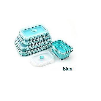 Folding Silicone Lunch Box Fda Lunch Box Microwave Lunch Box Portable Plastic(Blue)