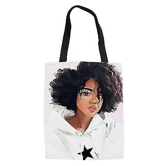 Africanas niñas mujeres's bolsa de compras lona de comestibles bolso de mano