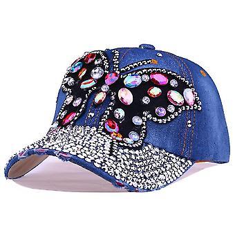 Bowknot diamant denim baseball cap bling strass snapback hoed gorra