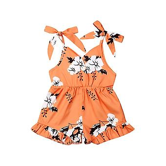 Overalls summer baby sleeveless floral romper jumpsuit toddler kids casual overalls