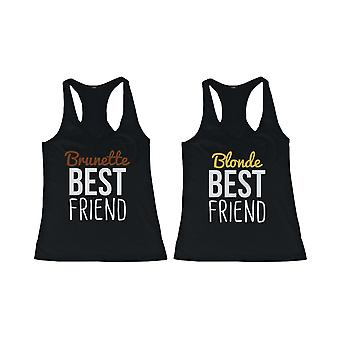 Schattige Brunette en Blonde beste vriend Tank Tops - Matching BFF Tanks