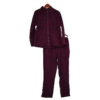 Denim et Co. Ensemble Active Fleece Zip Front Jacket et Pantalon Ensemble Purple A271406