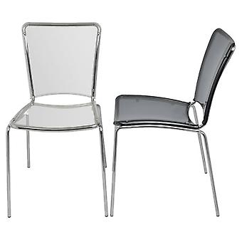 Rubie Polycarbonate Kitchen Dining Chair Perspex Seat Chrome Frame
